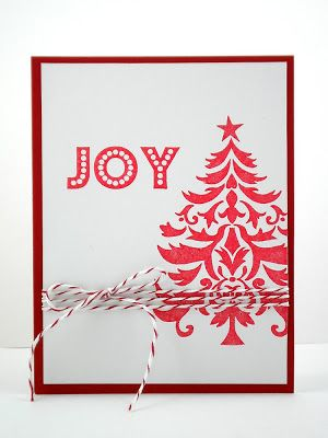 handmade Christmas card from Our Change of Art ... clean and simple layout ... tree/joy/bakers twine ... red and white ...