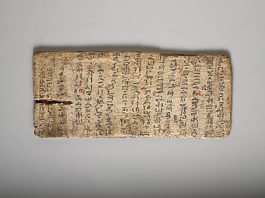 """Schreibunterlage, ca. 1981-1802, B.C. Ägypten. Gessoed Boards wurden für das Schreiben von Notizen oder Schulübungen verwendet. Wie die Schiefertafeln von gestern, konnten sie immer wieder verwendet werden, wobei alte Texte weiß getüncht wurden, um einen """"sauberen Schiefer"""" für einen anderen zu schaffen."""
