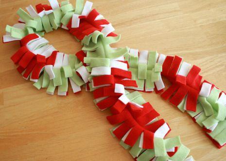kids no sew fleece scarfs   Make a Fringy Christmas Scarf! » Curbly   DIY Design Community