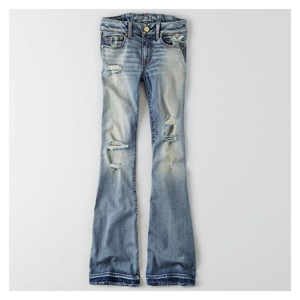 AEO Denim X Boho Artist Flare Jeans ❤ liked on Polyvore featuring jeans, flared denim jeans, skinny fit jeans, stretch jeans, skinny flare jeans and low-rise flare jeans