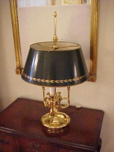 Baldwin Brass French Bouillotte 3 Trumpet Lamp Tole