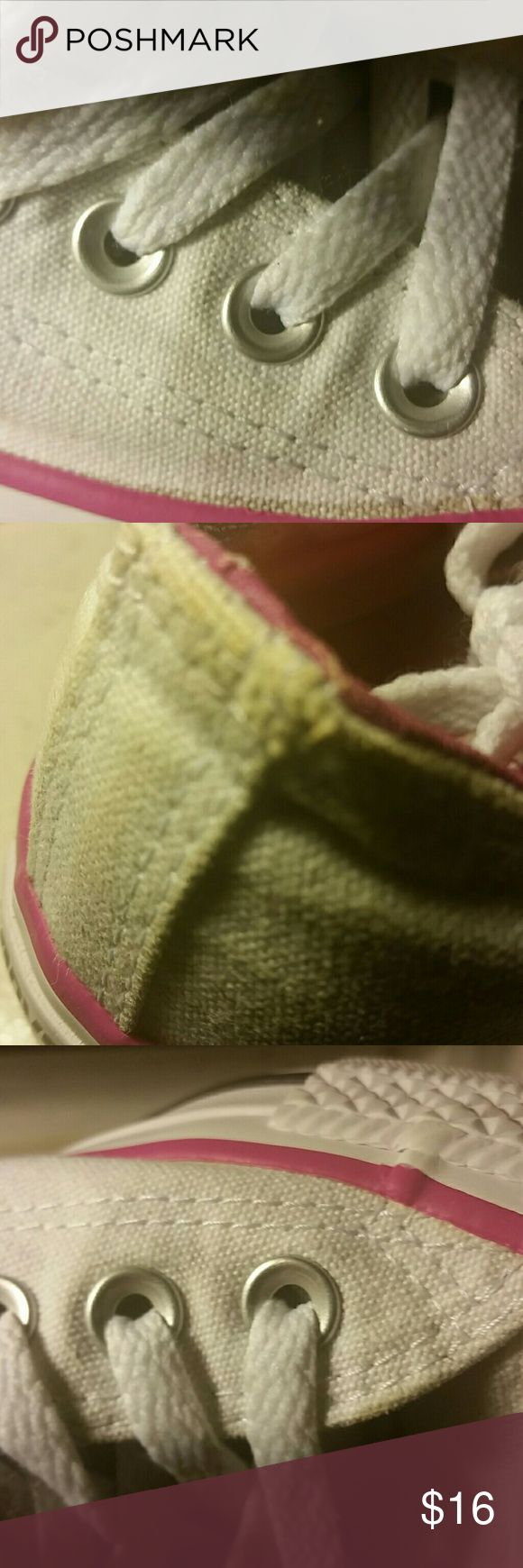 2nd pic  women white converses Women  white Converses trimmed in pink with a double tongue washed and clean with a few spots gently used clean soles and shoelaces double tongue final sale no trade Converse Shoes Sneakers