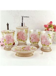 romantic azalea print 5 piece resin bathroom accessories