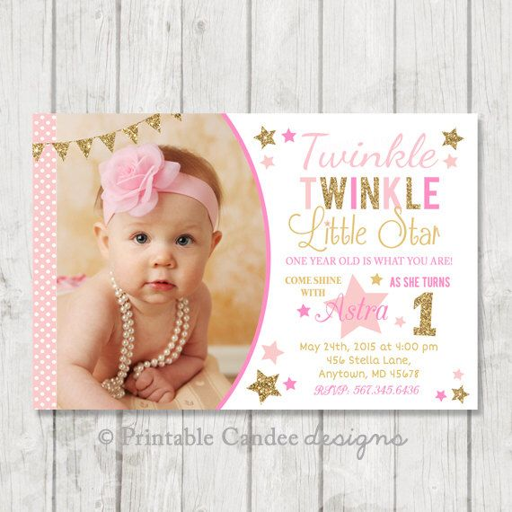 Twinkle Twinkle Little Star Invitation - Twinkle Twinkle Little Star Birthday - Pink and Gold Birthday - Pink and Gold 1st Bday - Printable by printablecandee on Etsy https://www.etsy.com/listing/200119535/twinkle-twinkle-little-star-invitation
