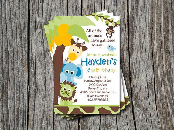 16 best Evanu0027s 1st Birthday Ideas images on Pinterest Jungle party - best of invitation card for new zoo