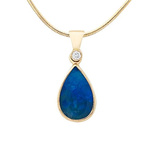 How do You like the blue opal? #opal #diamond #gold #jewellery #necklace #pendant