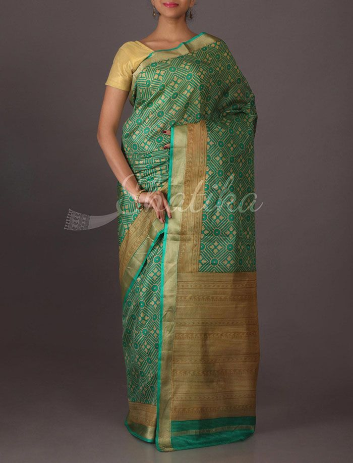 Anuradha Rangoli Pattern Printed #SilkSaree in Green
