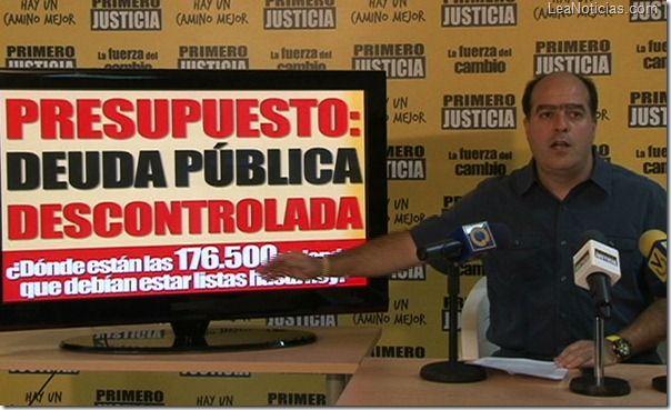 Julio Borges: Cada familia venezolana tiene sobre su espalda 325 millones de bolívares en deuda pública - http://www.leanoticias.com/2012/11/18/julio-borges-cada-familia-venezolana-tiene-sobre-su-espalda-325-millones-de-bolivares-en-deuda-publica/