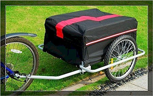 Bike Cargo Trailers - Heavy Duty Steel Bicycle Bike Cargo Tow Trailer Cart Utility Carrier w Cover -- Learn more by visiting the image link.