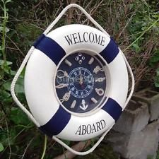 35cm Seaside Nautical Life Buoy Clock Flotation Ring Wall Hanging Decor Navy