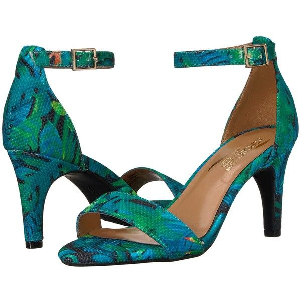 Aerosoles Laminate (Blue/Green Combo) High Heels (€84) ❤ liked on Polyvore featuring shoes, sandals, leather sandals, leather shoes, blue high heel sandals, high heel shoes and blue high heel shoes