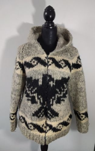 Vintage Wool Hand Knit Cowichan Sweater Thunderbird Womens L Authentic
