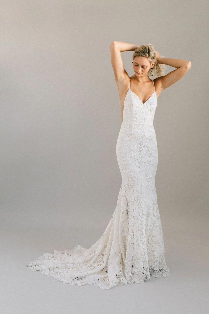 Low Back Statement Lace Wedding Dress With Spaghetti Straps Uniquelaceweddingdresses Fitted Lace Wedding Dress Wedding Dress Low Back Fitted Wedding Dress