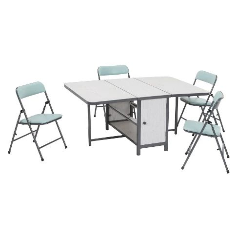 5pc Kid S Fold N Store Table And Chair Set White Teal