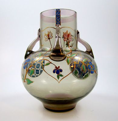 Enameled French vase. It is unsigned and unmarked, made ca. 1880