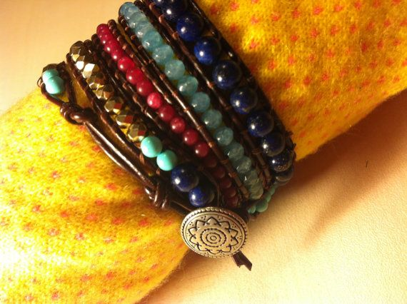 Semi-precious stones bracelet & leather by dodimatto on Etsy