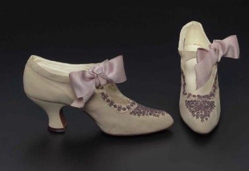 ~Edwardian Era Shoes 1912, American, Made of suede, leather, and silk ribbon~