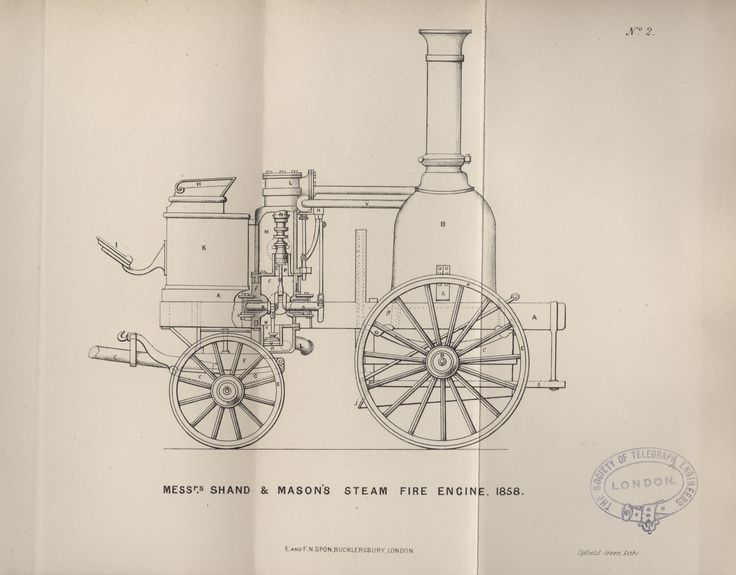 A steam powered fire engine by Messrs Shand and Mason, 1858. Contained in a paper entitled 'Steam fire engines, and the late trials at the Crystal Palace' from the journal of the Society of Engineers, 1863, held at the library of the Institution of Engineering and Technology.