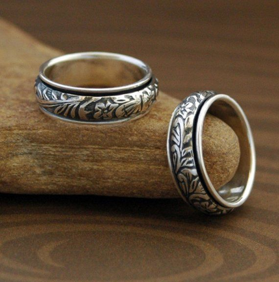Spinner Ring - Floral and Scroll in Sterling Silver for Men or Women - Ready to Ship