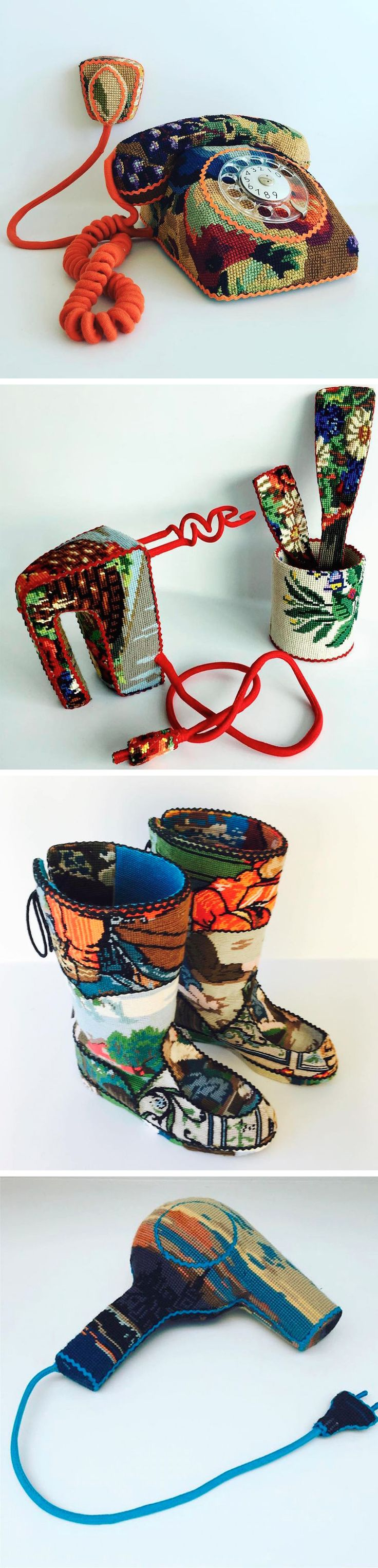 Household Objects and Appliances Cross-Stitched by Ulla Stina Wikander