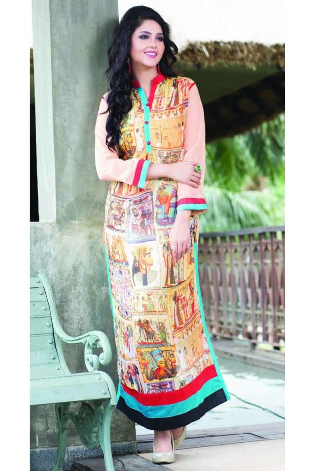 Multi Colour Georgette Printed Kurti