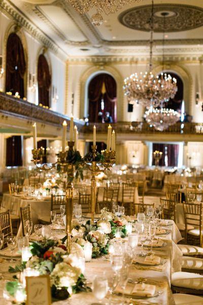 Grand ballroom reception: http://www.stylemepretty.com/pennsylvania-weddings/pittsburgh/2015/05/21/romantic-pennsylvania-ballroom-wedding/ | Photography: Joey Kennedy - http://www.joeykennedyphotography.com/