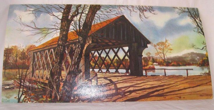 "1960's COVERED BRIDGE Signed MURRAY Litho Print RIVER 24""x12"" Kitch Vintage #Vintage #1960s #lithograph #artist #coveredbridge #river"