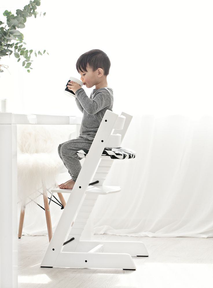 Tripp Trapp chair and accessories from Stokke - White Stokke Tripp Trapp chair + Cushion via Mae Gabriel