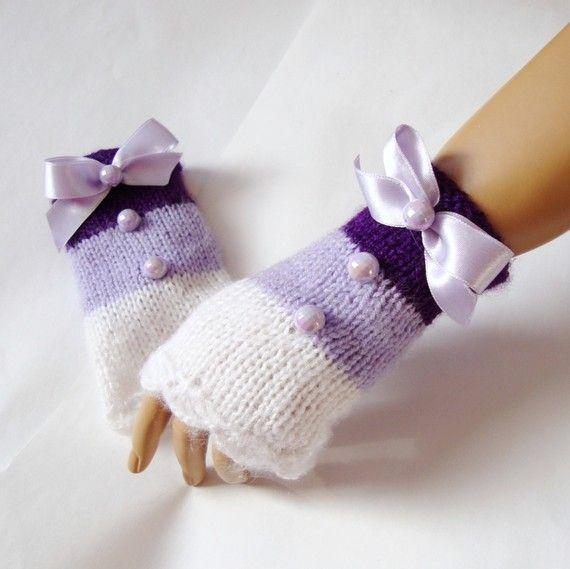 Hand Knit Gloves Mitten  Arm Warmer White Lavender Purple by Pasin, $32.00
