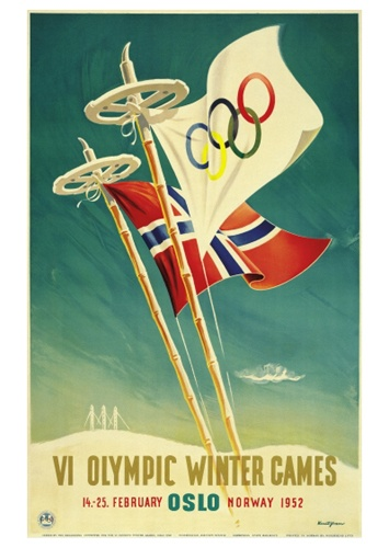 OSLO 1952 Norway Winter Olympic Games Official IOC Poster Reprint