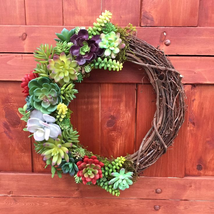 Succulent Wreath, artificial succulent wreath, spring wreath, faux succulents, wedding decor, front door wreath, year round wreath, rustic by DoGoodDecor on Etsy https://www.etsy.com/listing/499498160/succulent-wreath-artificial-succulent