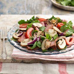 Grilled mushroom, beef and rocket salad