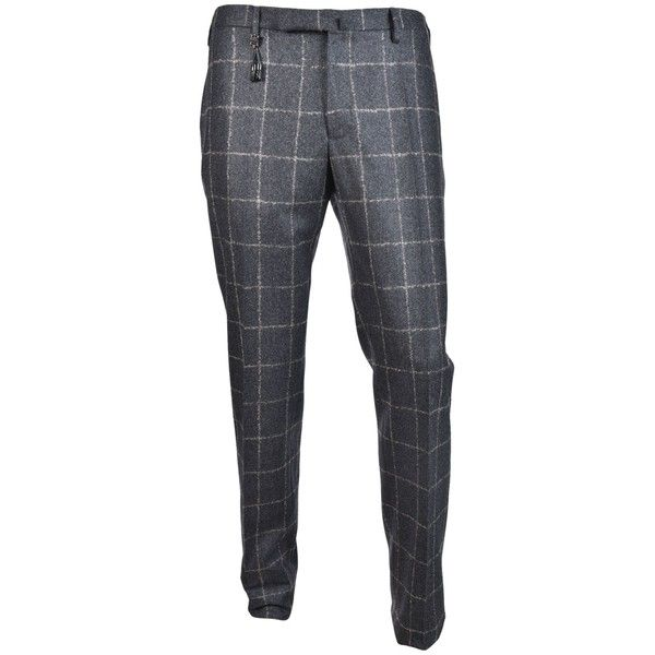 Incotex Checkered Slim Fit Trousers ($295) ❤ liked on Polyvore featuring men's fashion, men's clothing, men's pants, men's casual pants, grigio, mens zip off pants, mens slim fit pants, mens slim pants, mens zipper pants and mens grey dress pants