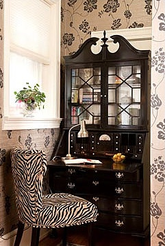 Black & White - Living. Like the whole get-up: zebra chair, wall paper, shade