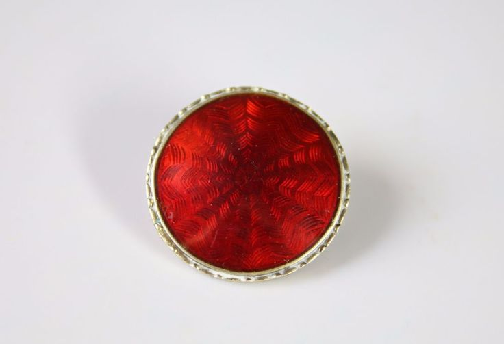 Red Guilloche BROOCH - Lars Harsheim NORWAY - Enamel Silver Pin