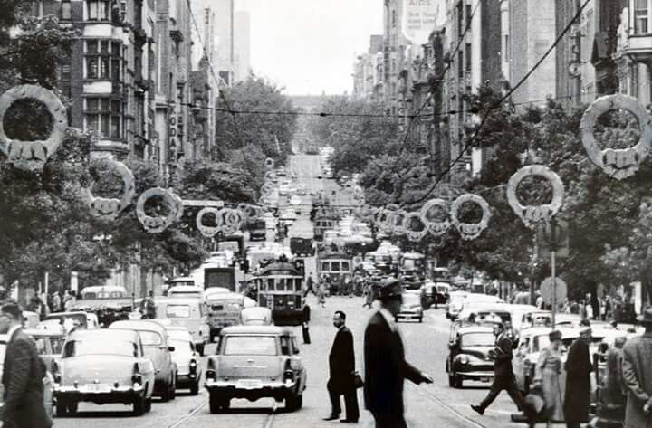 Collins St,Melbourne in 1960 with Christmas decorations.
