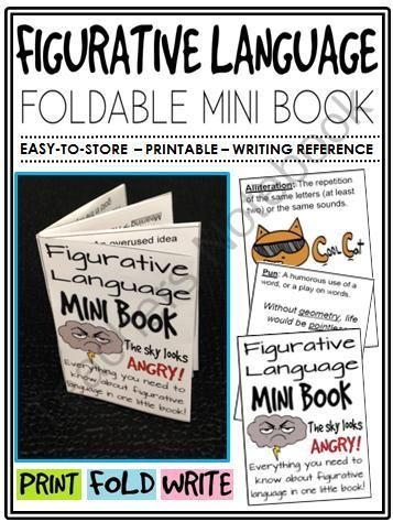 Figurative Language Mini-Book (foldable, printable, fun-filled resource!) from The Classroom Sparrow on TeachersNotebook.com - (7 pages) - This mini-book is a great addition to any English Language Arts classroom and suitable for a variety of levels. Students no longer have an excuse for misplacing their notes.                                                                                                                                                                                 More