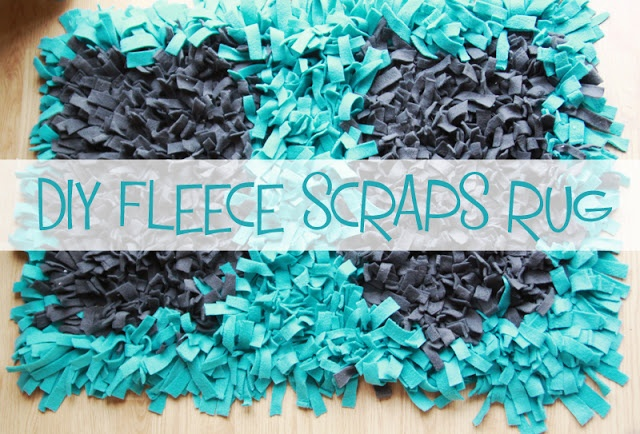 Simple DIY Rug project using strips of fleece via LittleGrayFox blog