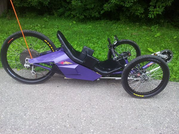 This is a new recumbent electric trike called the ArcTrike. Up to 4,000 watts of power, WOW! Here is more info: http://arctrike.com/