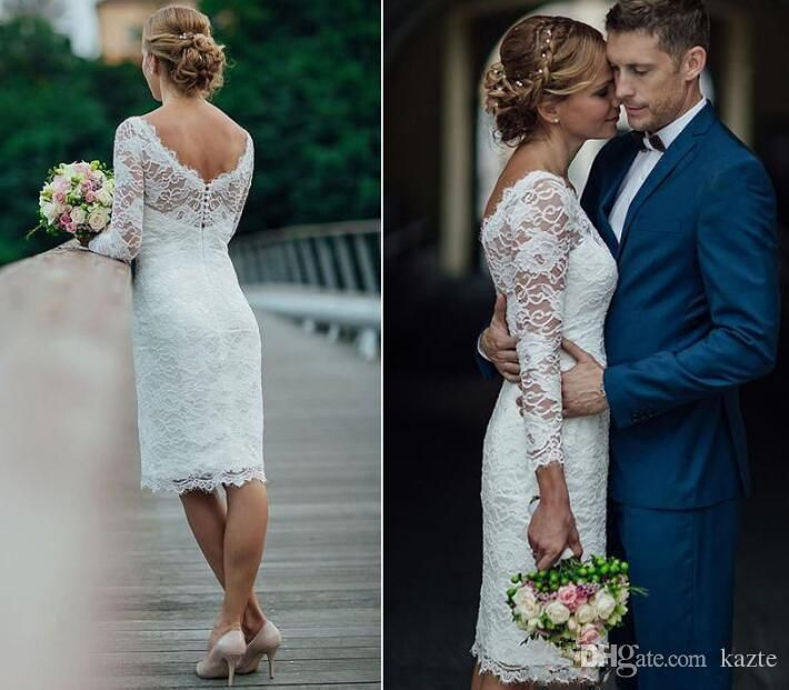 Summer Holiday 2018 Short Wedding Dresses Knee Length Simple White Ivory Short Sheath Wedding Dresses Bridal Reception Gowns Mermaid Wedding Dress Long Sleeve Wedding Dresses Lace Wedding Dress Online with $109.72/Piece on Kazte's Store | DHgate.com