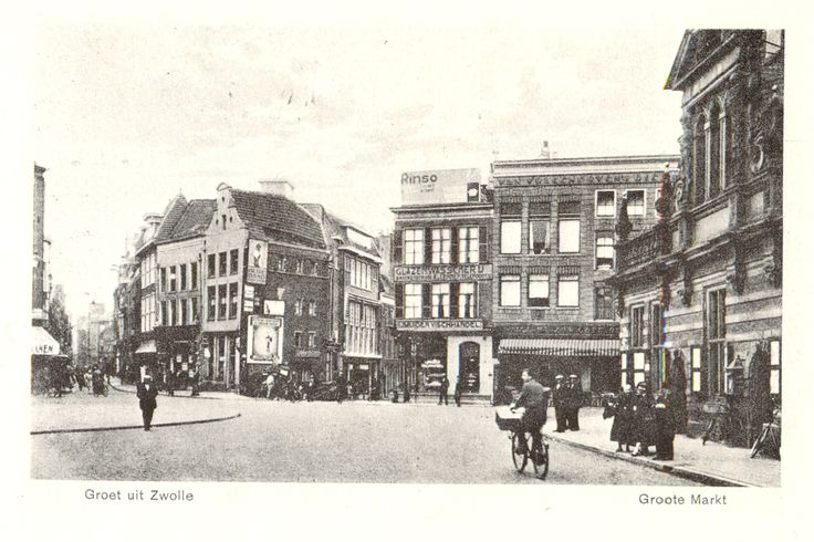 Zwolle, Grote Markt, Diezerstraat, Oude Vismarkt, Korte Ademhalingssteeg, 1923