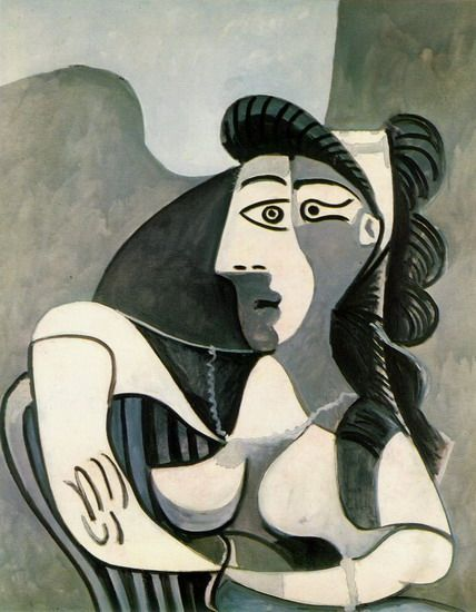 """Pablo Picasso - """"Woman in an armchair (Bust)"""", 1962"""