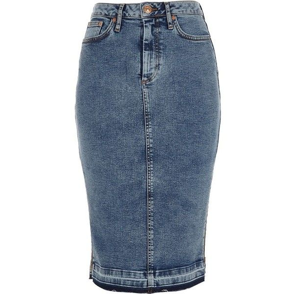 River Island Mid blue acid wash denim pencil skirt ($70) ❤ liked on Polyvore featuring skirts, blue, midi skirts, women, acid wash denim pencil skirt, button midi skirt, tall skirts, mid calf skirts and blue pencil skirt