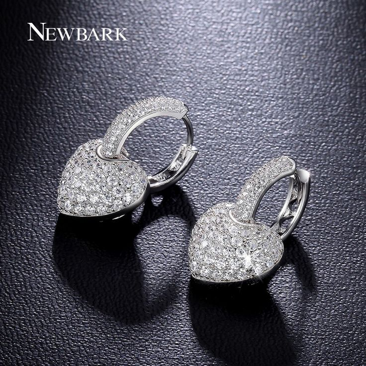 NEWBARK Classic Heart Earrings White Gold Plated Hoop Earring Paved Cubic Zirconia Jewelry For Women Wedding