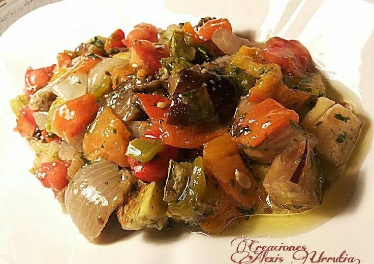 Ensalada de pimientos, berenjenas y calabacines al horno
