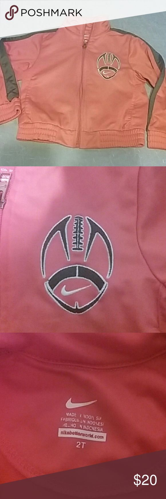 Nike football Jacket Orange with gray trim Nike jacket with football. Boys 2T worn once. Nike Jackets & Coats
