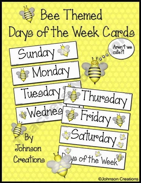 These Cute FREE Bee Themed Days Of The Week Cards Can Be Used Many Ways In Your Classroom Check Out Jacot Murphy