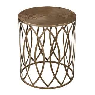 Antique Gold Finish Round Metal Accent Table