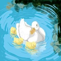 Popular : Duck with ducklings in a pond