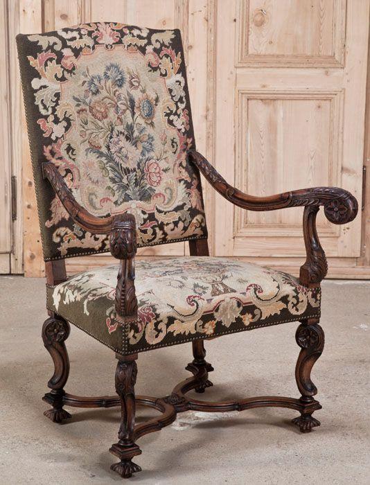 silln barroco con tapicera original estilo luis xiv francia esmadeco